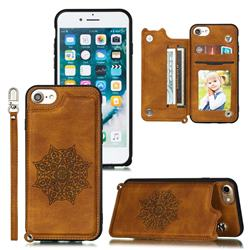 Luxury Mandala Multi-function Magnetic Card Slots Stand Leather Back Cover for iPhone 8 / 7 (4.7 inch) - Brown