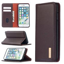 Binfen Color BF06 Luxury Classic Genuine Leather Detachable Magnet Holster Cover for iPhone 8 / 7 (4.7 inch) - Dark Brown