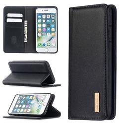 Binfen Color BF06 Luxury Classic Genuine Leather Detachable Magnet Holster Cover for iPhone 8 / 7 (4.7 inch) - Black