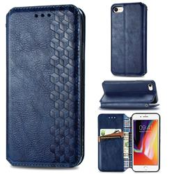 Ultra Slim Fashion Business Card Magnetic Automatic Suction Leather Flip Cover for iPhone 8 / 7 (4.7 inch) - Dark Blue