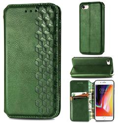 Ultra Slim Fashion Business Card Magnetic Automatic Suction Leather Flip Cover for iPhone 8 / 7 (4.7 inch) - Green