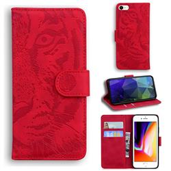 Intricate Embossing Tiger Face Leather Wallet Case for iPhone 8 / 7 (4.7 inch) - Red