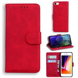 Retro Classic Skin Feel Leather Wallet Phone Case for iPhone 8 / 7 (4.7 inch) - Red