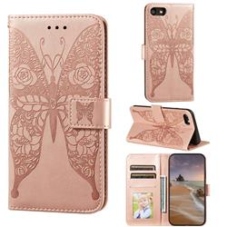 Intricate Embossing Rose Flower Butterfly Leather Wallet Case for iPhone 8 / 7 (4.7 inch) - Rose Gold
