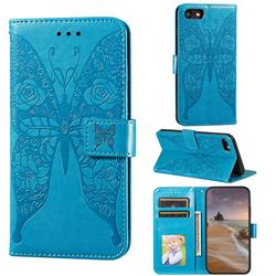 Intricate Embossing Rose Flower Butterfly Leather Wallet Case for iPhone 8 / 7 (4.7 inch) - Blue