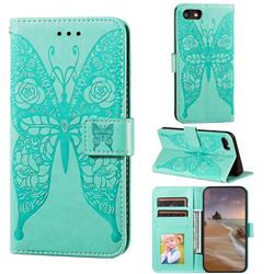 Intricate Embossing Rose Flower Butterfly Leather Wallet Case for iPhone 8 / 7 (4.7 inch) - Green