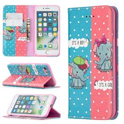 Elephant Boy and Girl Slim Magnetic Attraction Wallet Flip Cover for iPhone 8 / 7 (4.7 inch)