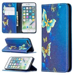Gold Butterfly Slim Magnetic Attraction Wallet Flip Cover for iPhone 8 / 7 (4.7 inch)