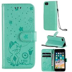 Embossing Bee and Cat Leather Wallet Case for iPhone 8 / 7 (4.7 inch) - Green
