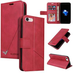 GQ.UTROBE Right Angle Silver Pendant Leather Wallet Phone Case for iPhone 8 / 7 (4.7 inch) - Red