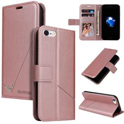 GQ.UTROBE Right Angle Silver Pendant Leather Wallet Phone Case for iPhone 8 / 7 (4.7 inch) - Rose Gold