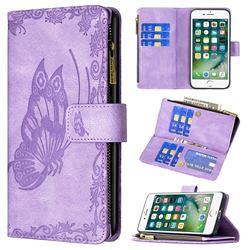 Binfen Color Imprint Vivid Butterfly Buckle Zipper Multi-function Leather Phone Wallet for iPhone 8 / 7 (4.7 inch) - Purple