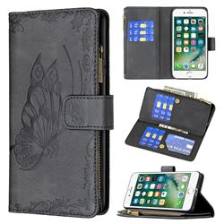 Binfen Color Imprint Vivid Butterfly Buckle Zipper Multi-function Leather Phone Wallet for iPhone 8 / 7 (4.7 inch) - Black