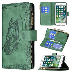 Binfen Color Imprint Vivid Butterfly Buckle Zipper Multi-function Leather Phone Wallet for iPhone 8 / 7 (4.7 inch) - Green