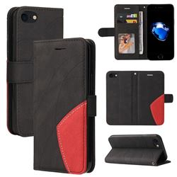 Luxury Two-color Stitching Leather Wallet Case Cover for iPhone 8 / 7 (4.7 inch) - Black