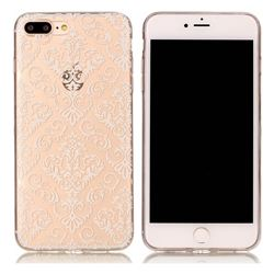 White Lace Flowers Super Clear Soft TPU Back Cover for iPhone 8 Plus / 7 Plus 8P 7P(5.5 inch)