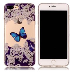 Blue Butterfly Flower Super Clear Soft TPU Back Cover for iPhone 8 Plus / 7 Plus 8P 7P(5.5 inch)
