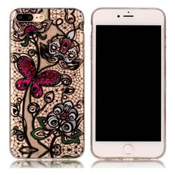 Butterfly Flowers Super Clear Soft TPU Back Cover for iPhone 8 Plus / 7 Plus 8P 7P(5.5 inch)