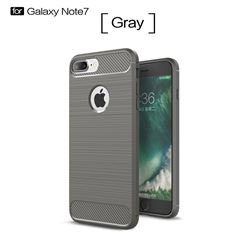 Luxury Carbon Fiber Brushed Wire Drawing Silicone TPU Back Cover for iPhone 8 Plus / 7 Plus 8P 7P(5.5 inch) (Gray)