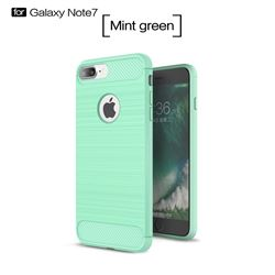 Luxury Carbon Fiber Brushed Wire Drawing Silicone TPU Back Cover for iPhone 8 Plus / 7 Plus 8P 7P(5.5 inch) (Mint Green)