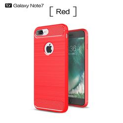 Luxury Carbon Fiber Brushed Wire Drawing Silicone TPU Back Cover for iPhone 8 Plus / 7 Plus 8P 7P(5.5 inch) (Red)