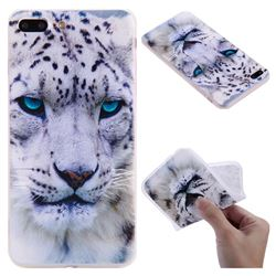 White Leopard 3D Relief Matte Soft TPU Back Cover for iPhone 8 Plus / 7 Plus 7P(5.5 inch)