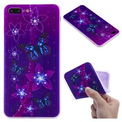 Butterfly Flowers 3D Relief Matte Soft TPU Back Cover for iPhone 8 Plus / 7 Plus 7P(5.5 inch)