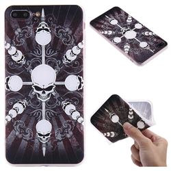 Compass Skulls 3D Relief Matte Soft TPU Back Cover for iPhone 8 Plus / 7 Plus 7P(5.5 inch)
