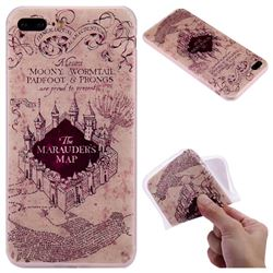 Castle The Marauders Map 3D Relief Matte Soft TPU Back Cover for iPhone 8 Plus / 7 Plus 7P(5.5 inch)