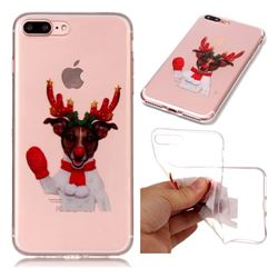 Red Gloves Elk Super Clear Soft TPU Back Cover for iPhone 8 Plus / 7 Plus 7P(5.5 inch)