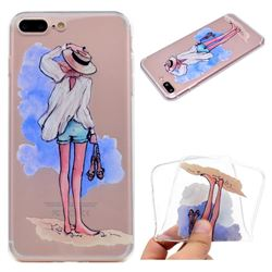 Beach Girl Super Clear Soft TPU Back Cover for iPhone 8 Plus / 7 Plus 7P(5.5 inch)