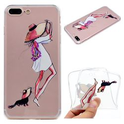 Pet Girl Super Clear Soft TPU Back Cover for iPhone 8 Plus / 7 Plus 7P(5.5 inch)