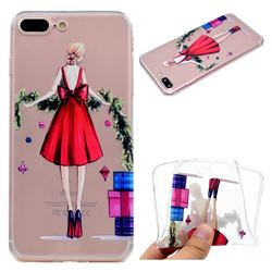 Christmas Girl Super Clear Soft TPU Back Cover for iPhone 8 Plus / 7 Plus 7P(5.5 inch)