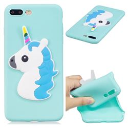 Blue Hair Unicorn Soft 3D Silicone Case for iPhone 8 Plus / 7 Plus 7P(5.5 inch)