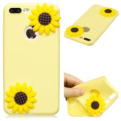 Yellow Sunflower Soft 3D Silicone Case for iPhone 8 Plus / 7 Plus 7P(5.5 inch)