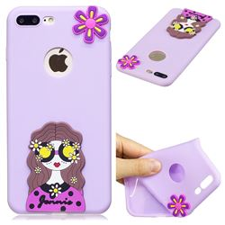 Violet Girl Soft 3D Silicone Case for iPhone 8 Plus / 7 Plus 7P(5.5 inch)