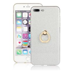 Luxury Soft TPU Glitter Back Ring Cover with 360 Rotate Finger Holder Buckle for iPhone 8 Plus / 7 Plus 7P(5.5 inch) - White