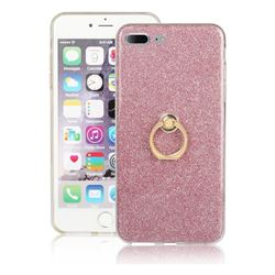 Luxury Soft TPU Glitter Back Ring Cover with 360 Rotate Finger Holder Buckle for iPhone 8 Plus / 7 Plus 7P(5.5 inch) - Pink