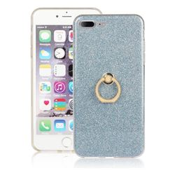 Luxury Soft TPU Glitter Back Ring Cover with 360 Rotate Finger Holder Buckle for iPhone 8 Plus / 7 Plus 7P(5.5 inch) - Blue