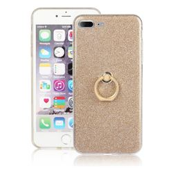 Luxury Soft TPU Glitter Back Ring Cover with 360 Rotate Finger Holder Buckle for iPhone 8 Plus / 7 Plus 7P(5.5 inch) - Golden