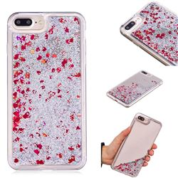 Glitter Sand Mirror Quicksand Dynamic Liquid Star TPU Case for iPhone 8 Plus / 7 Plus 7P(5.5 inch) - Red