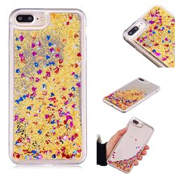 Glitter Sand Mirror Quicksand Dynamic Liquid Star TPU Case for iPhone 8 Plus / 7 Plus 7P(5.5 inch) - Yellow