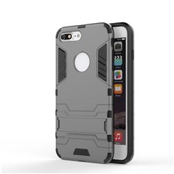 Armor Premium Tactical Grip Kickstand Shockproof Dual Layer Rugged Hard Cover for iPhone 8 Plus / 7 Plus 7P(5.5 inch) - Gray