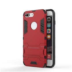 Armor Premium Tactical Grip Kickstand Shockproof Dual Layer Rugged Hard Cover for iPhone 8 Plus / 7 Plus 7P(5.5 inch) - Wine Red