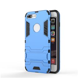 Armor Premium Tactical Grip Kickstand Shockproof Dual Layer Rugged Hard Cover for iPhone 8 Plus / 7 Plus 7P(5.5 inch) - Light Blue