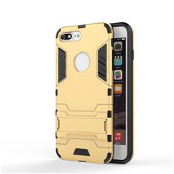 Armor Premium Tactical Grip Kickstand Shockproof Dual Layer Rugged Hard Cover for iPhone 8 Plus / 7 Plus 7P(5.5 inch) - Golden