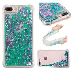 Dynamic Liquid Glitter Sand Quicksand TPU Case for iPhone 8 Plus / 7 Plus 7P(5.5 inch) - Green Love Heart