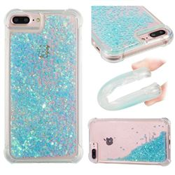 Dynamic Liquid Glitter Sand Quicksand TPU Case for iPhone 8 Plus / 7 Plus 7P(5.5 inch) - Silver Blue Star
