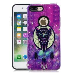 Starry Campanula Owl Pattern 2 in 1 PC + TPU Glossy Embossed Back Cover for iPhone 8 Plus / 7 Plus 7P(5.5 inch)
