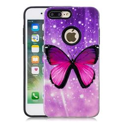 Glossy Butterfly Pattern 2 in 1 PC + TPU Glossy Embossed Back Cover for iPhone 8 Plus / 7 Plus 7P(5.5 inch)